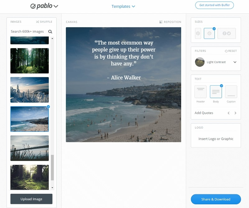 Скриншот сервиса по созданию картинок pablo