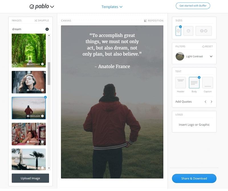 Создание цитаты в сервисе Pablo