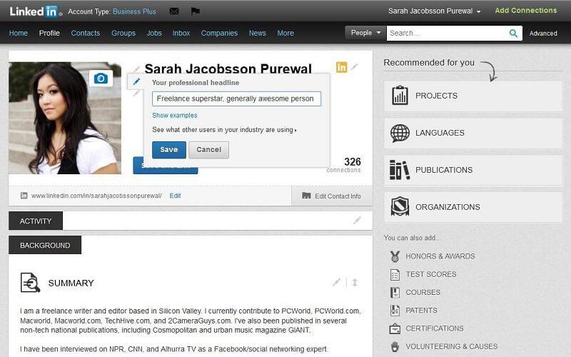 Создание профиля в LinkedIn