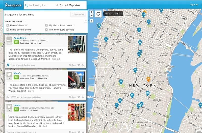 Социальная игра Foursquare